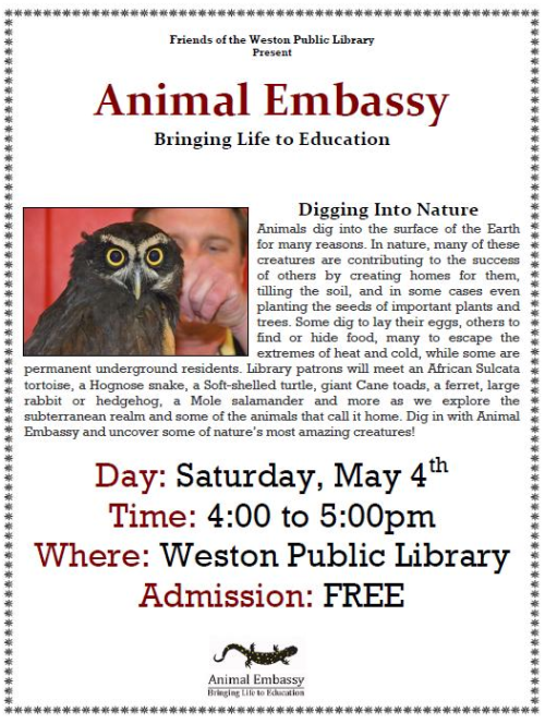 Animal Embassy Digs Into Nature 5/4