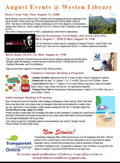 August Events at the Library